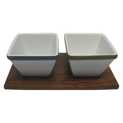 Threshold™ Bamboo Tray with Square Ceramic Dip Bowls
