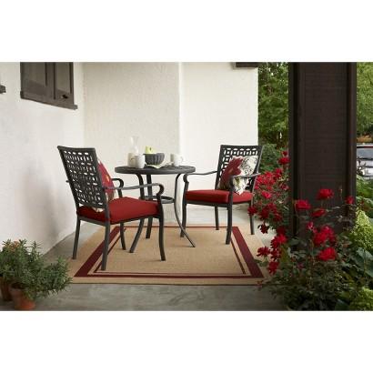 Threshold™ Hawthorne 3-Piece Metal Patio Bistro Furniture Set - Red