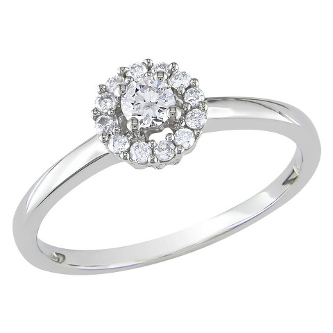 1/4 Ct Diamond Engagement Ring 10k White Gold - White/Silver