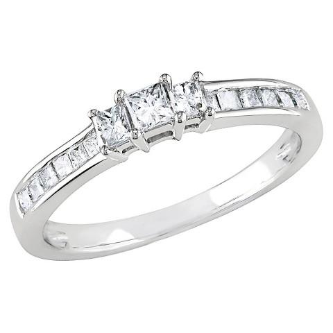 1/2 Ct Diamond Engagement Ring 10k White Gold - White/Silver