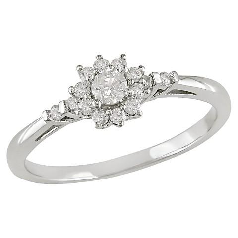 1/4 Ct Diamond Engagement Ring 10k White Gold - White/Silver