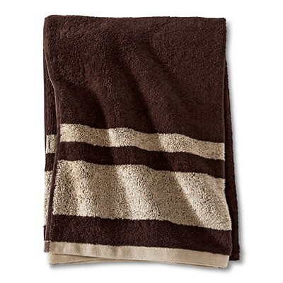 Fast Dry Stripe Bath Towel Brown - Room Essentials™