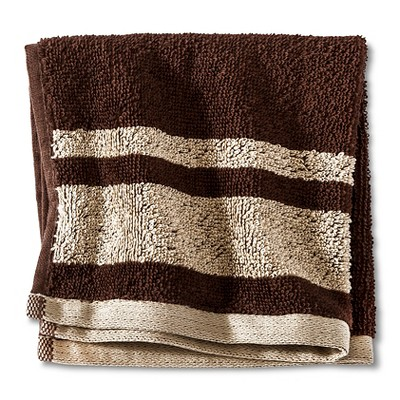 Fast Dry Stripe Washcloth Brown - Room Essentials™