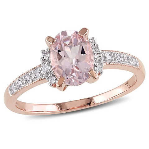 0.07 CT. T.W. Diamond and 1 CT. T.W. Morganite Ring in Rose Plated Sterling Silver