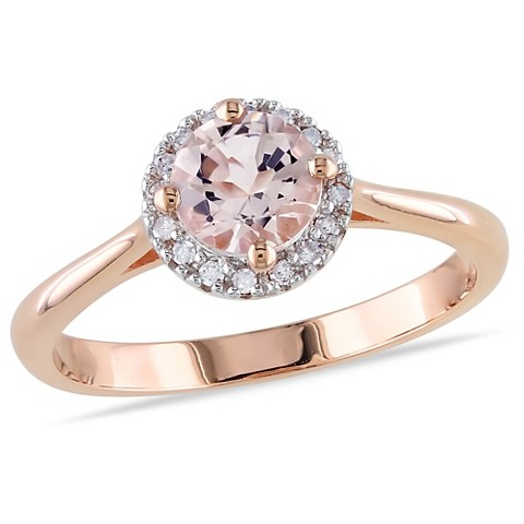 10k Pink Gold Diamond and 4/5ct Morganite Ring