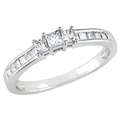 1/2 Ct Diamond Engagement Ring 10k White Gold - White/Silver