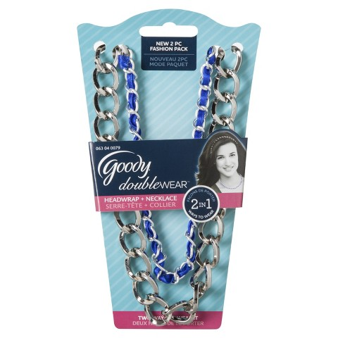 Goody Double Wear Ribbon Woven Silver Layered with Chain Link Headwraps
