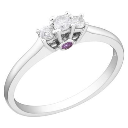 1/6 Ct Diamond Sapphire Ring 10k White Gold - Pink