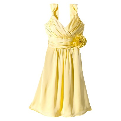 TEVOLIO™  Women's Satin V-Neck Dress with Removable Flower - Fashion Colors