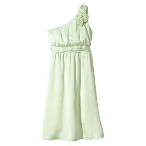 Women's Satin OneShoulder Rosette Bridesmaid Dress Fashion Colors - TEVOLIO&#153