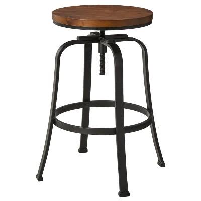 Dakota Adjustable Height Swivel Stool - Distressed/Black - The Industrial Shop