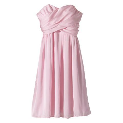 Women's Satin Strapless Bridesmaid Dress  Fashion Colors - TEVOLIO&#153