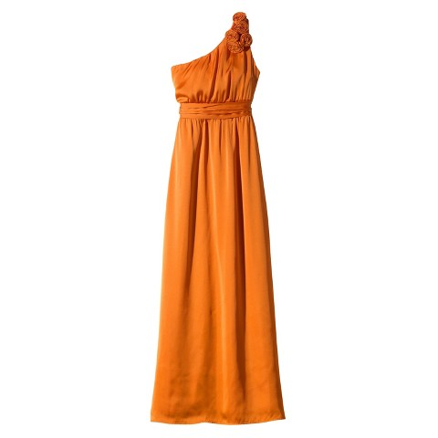 TEVOLIO™  Women's Satin One-Shoulder Rosette Maxi Dress - Limited Availability Colors