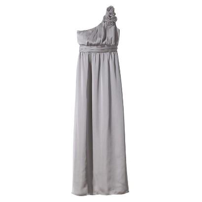 TEVOLIO Women's Satin One-Shoulder Rosette Maxi Dress - Neutral Colors