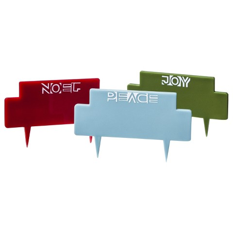 Holiday Cheese Markers Set of 3 - Red/Blue/Green
