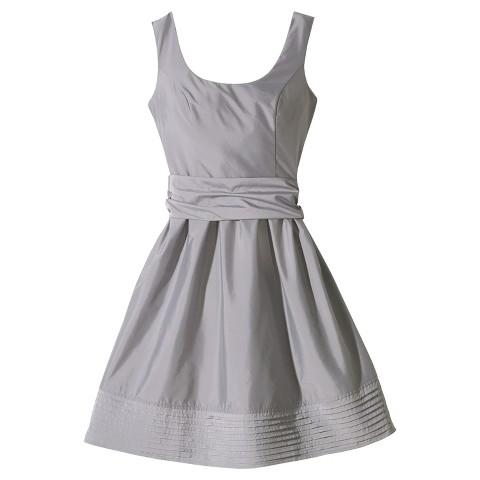 Women's Taffeta Scoop Neck Bridesmaid Dress with Removable Sash - TEVOLIO&#153