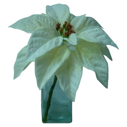 "Poinsettia 9"" in Glass Vase"