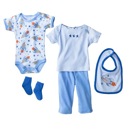 Hudson Baby™ Newborn Boys' 6 Piece Mesh Bag Gift Set - Blue 0-3 M