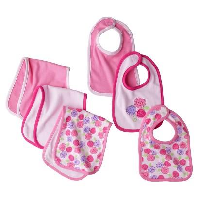 Hudson Baby Pink IG 6Pk Bib & Burp Cloth  - OSFM