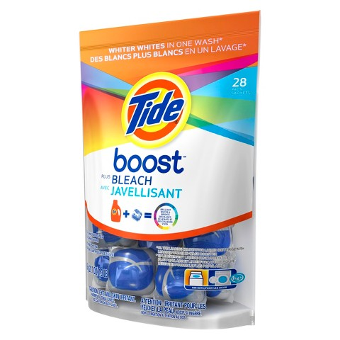 Tide Boost Vivid White + Bright Color-Safe In-Wash Stain Remover Pacs 28 ct