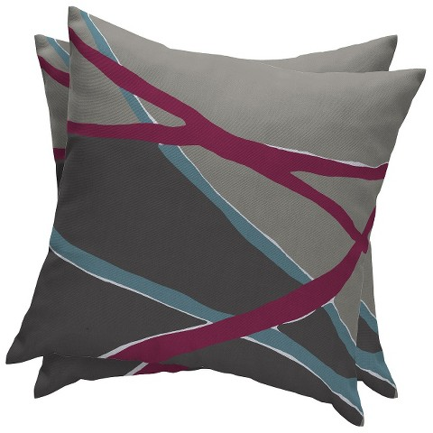 Room Essentials™ 2-Piece Outdoor Decorative Pillow Set - Gray Diagonal