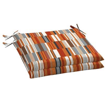 Room Essentials™ 2-Piece Outdoor Seat Cushion Set - Broken Stripe Orange