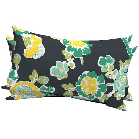 Room Essentials™ 2-Piece Outdoor Lumbar Pillow Set - Tossed Floral Green/Yellow