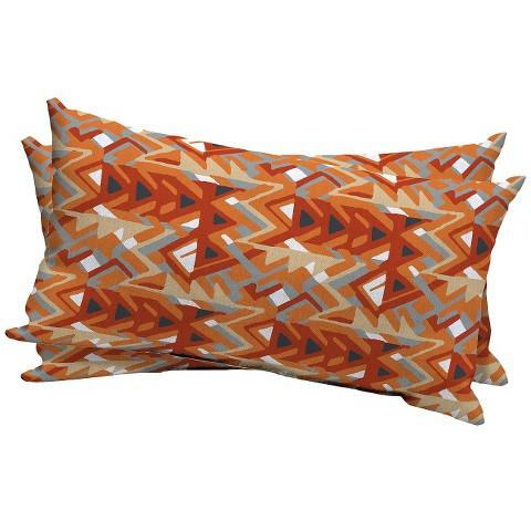 Room Essentials™ 2-Piece Outdoor Lumbar Pillow Set - Tribal Triangle Orange