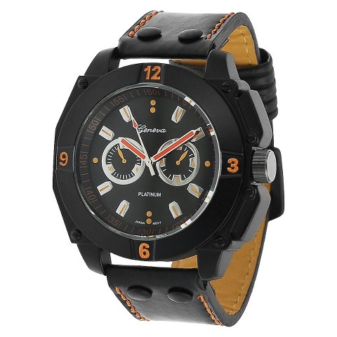 Geneva Platinum® Men's Decorative Chronograph Strap Watch - Black/Orange