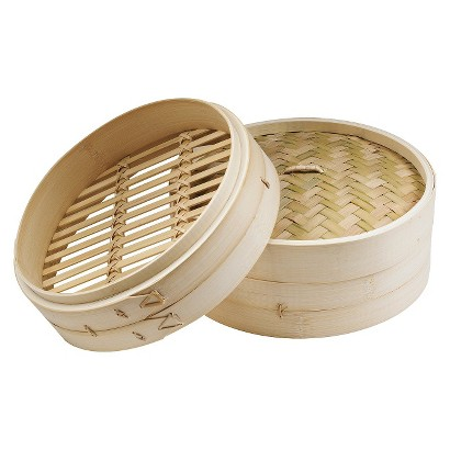 IMUSA Asian Bamboo Steamer with Lid - Cream