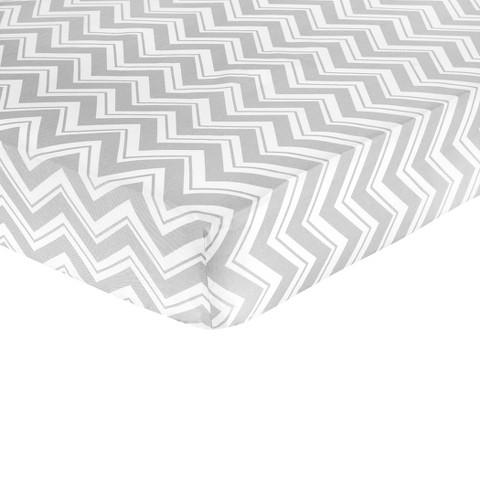 Sweet Jojo Designs Zig Zag Yellow and Gray Fitted Crib Sheet - Zig Zag Print