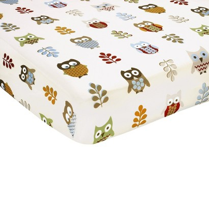 Sweet Jojo Designs Night Owl Fitted Crib Sheet - Owl Print