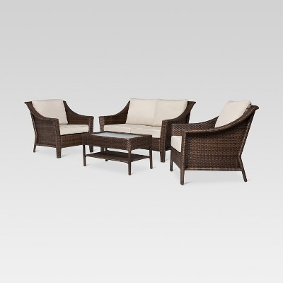 Rolston 4-Piece Wicker Patio Conversation Furniture Set - Beige Solid - Threshold™