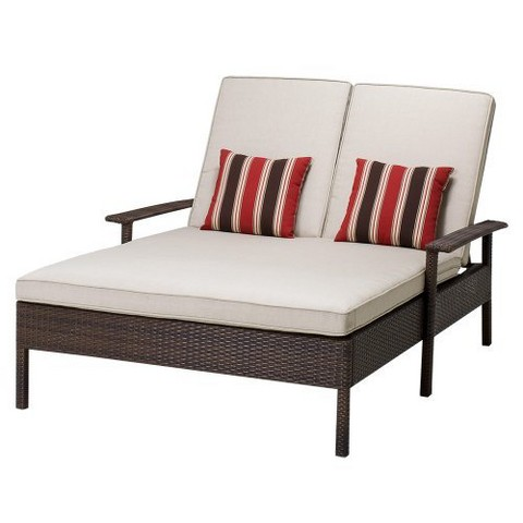 Rolston Wicker Patio Double Chaise Lounge Thre Target