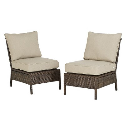 Threshold™ Rolston 2-Piece Wicker Patio Sectional Armless Chair Set