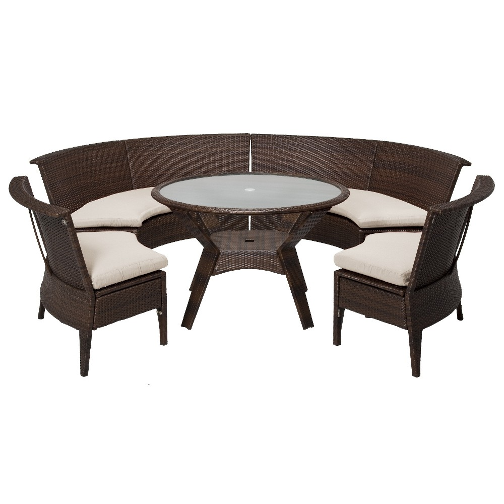 Patio Dining Set Threshold Rolston 5 Piece Wicker Sectional Patio Dining Furniture Set
