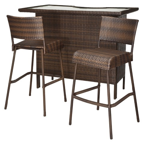 Rolston 3 Piece Wicker Patio Bar Set Threshold™ Tar