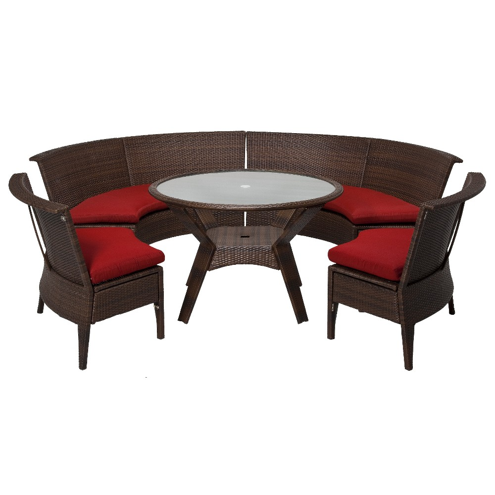 PATIO DINING SET THRESHOLD ROLSTON 5 PIECE WICKER SECTIONAL PATIO DINING FUR