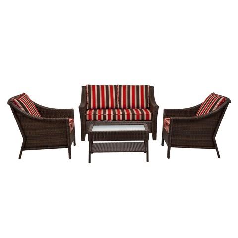 Rolston 4-Piece Wicker Conversation Furniture Set - Threshold™