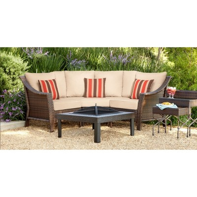 Rolston 3-Piece Wicker Patio Sectional Conversation Furniture Set - Threshold™