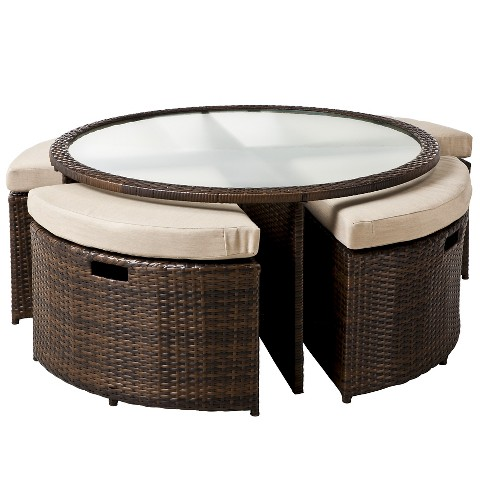 Threshold™ Rolston 5-Piece Wicker Patio Coffee Table With Tuck Under Seating Furniture Set