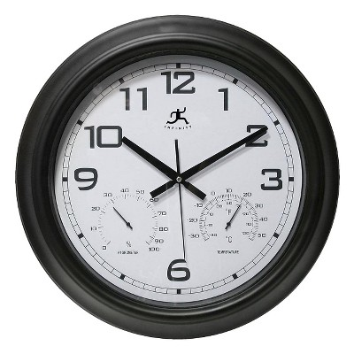 Infinity Instruments Hygrometer Indoor/Outdoor Clock - Black