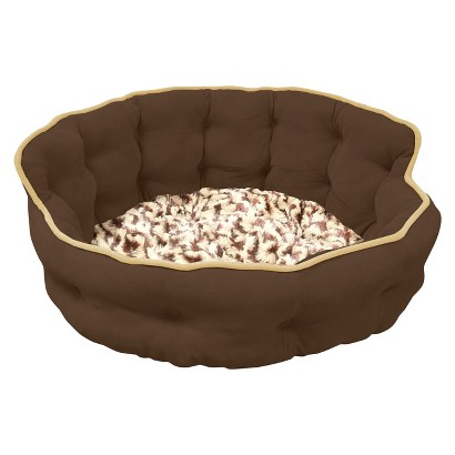 "Canine Creations Tufted Headboard Pet Bed - Chocolate (22x22"")"