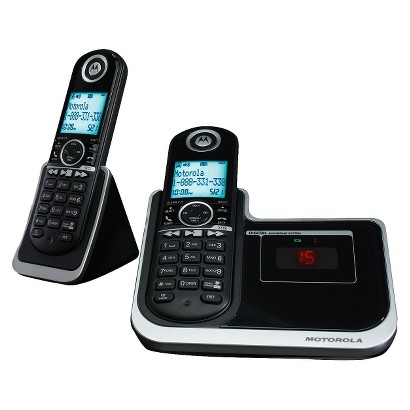Motorola DECT 6.0 Cordless Phone System (MOTO-L802) with Answering Machine, 2 Handsets - Black