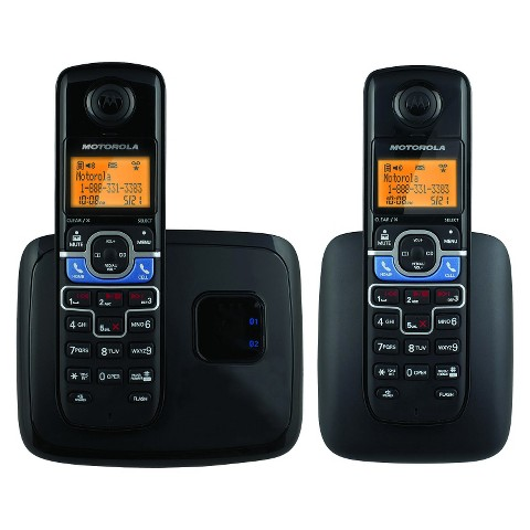 Motorola DECT 6.0 Cordless Phone System (MOTO-L702BT) with Answering Machine, 2 Handsets - Black