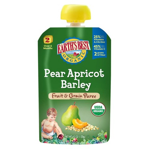 Earth's Best Organic Stage 2 Pear Apricot Barley Baby Food 4.2 oz