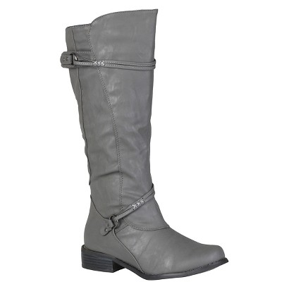 Journee Collection Women Buckle Accent Tall Boot Grey