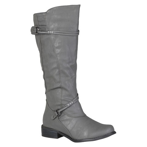 Women's Journee Collection Buckle Accent Tall Boot Grey