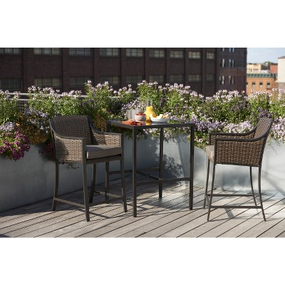 Casetta 3-Piece Wicker Patio Bar Height Bistro Furniture Set - Threshold™