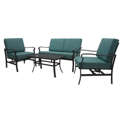 Threshold™ Hawthorne 4-Piece Metal Patio Conversation Furniture Set - Blue